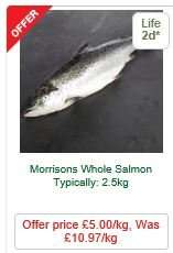 Fresh Whole Salmon £5/kg - MORRISONS - Instore and Online