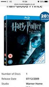 Harry Potter and the half blood prince blu ray £1.59 @ music magpie-used copy