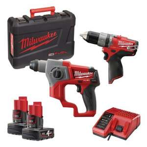 Milwaukee FUEL 12V combi drill AND FUEL 12V SDS Hammer Drill with 2 x 4.0Ah batteries £209.99 @ Plumbcentre