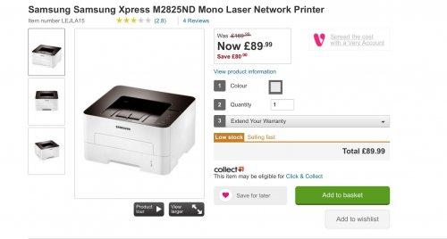 Samsung Samsung Xpress M2825ND Mono Laser Network Printer at Very (was £169.99) £89.99