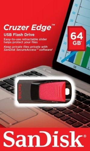 SanDisk SDCZ51-064G-B35 64 GB Cruzer Edge USB 2.0 Flash Drive - Red/Black £10.50  (Prime) / £14.49 (non Prime) at Amazon