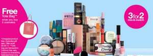 3 for 2 across ALL makeup and cosmetics, free delivery and free tote bag @ Superdrug