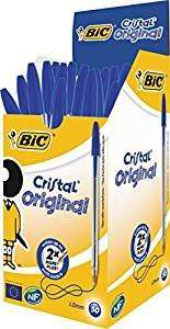 Bic cristal original blue pens. 50 only £3 at Tesco instore