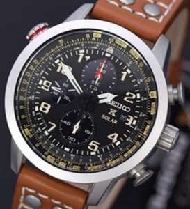 Seiko Men's Quartz Watch SSC081 with Chronograph Quartz, Leather strap, £140 at ernest jones