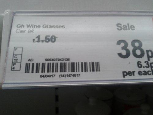 6 Glass Wine Glasses 38p @ Asda Instore
