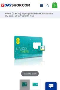 EE 30 days pay as you go Data SIM (5GB data) £8.99 at 7dayshop