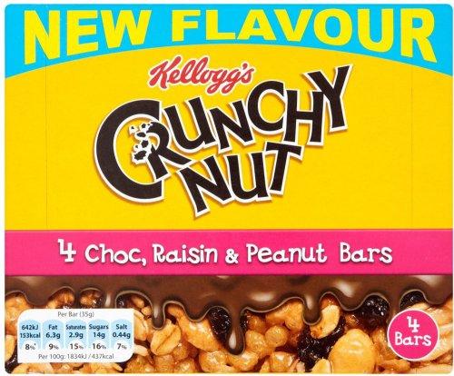 Kellogg's Crunchy Nut Choc, Raisin & Peanut Bars (4 x 35g) was £2.19 now any 2 for 1 @ Ocado