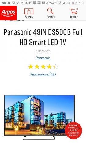 "PANASONIC 49"" FULL HD SMART LED TV - £349 @ Argos"