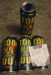 Tornado Energy Drink, 500ml resealable can 2 flavours available, 29p each or 4 for £1.00 @ Home Bargains