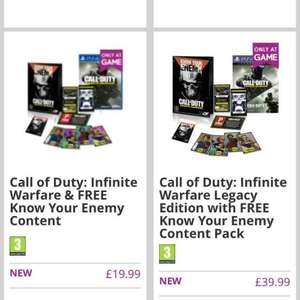 Call of Duty Infinite Warfare Legacy Edition + know your enemy pack and free delivery! PS4 & XBOX ONE £39.99 @ GAME