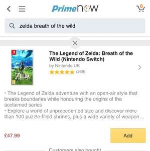 Zelda: Breath of the Wild possible £37.99 for Prime customers (Amazon) via prime now app - selected locations