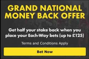Get half your stake back as cash on each-way bets on the Grand National with Bet365