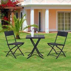 3 piece folding rattan bistro table and chair set £53.99 delivered @ eBay sold by 2011homcom