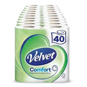 Velvet 3 ply toilet roll - 40 rolls for £12.50 (£17.25 with non Prime and under £20 or £11.75 with subscribe and save) - Amazon