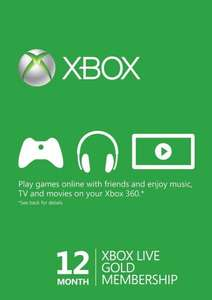 Microsoft Xbox 360 Live Gold 12 Month (Xbox 360/XB1) £27.59 @ Go2games