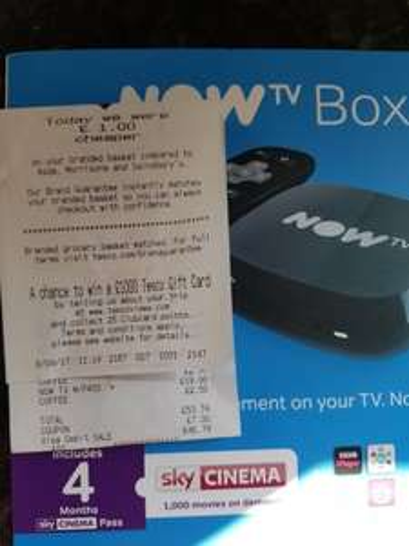now tv box + 4 months sky cinema tesco - £19.98 @ Tesco instore (Batley)