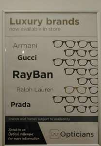 ASDA Opticians Luxury Brands (choice of Armani /Gucci /Prada /Ralph Lauren/ Ray Ban) - Instore only - £150