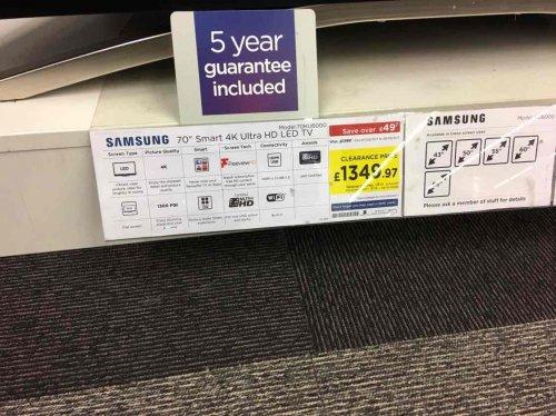 Samsung 70KU6000 - £1349.97 instore @ Currys (Lakeside)