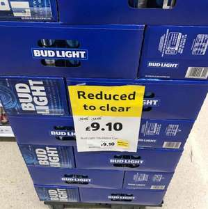 Bud Light, Reduced to Clear 18 pack £9.10 instore @ Tesco (Earls Court)