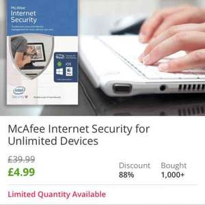McAfee Antivirus for unlimited device £4.99 plus £1.99 delivery £6.98 @ Groupon