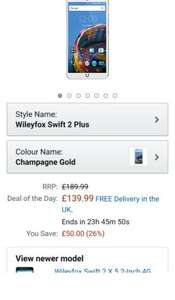 Wileyfox Swift 2 Plus SIM-Free Smartphone 32GB + 3GB - Gold £139.99 @ Amazon