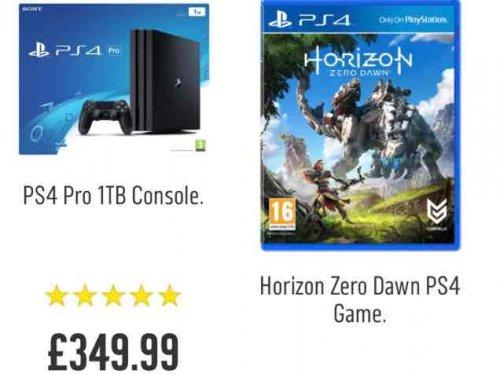 PS4 Pro + Horizon Zero - £349.99 @ Argos