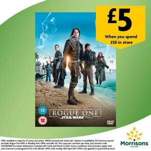 Get Star Wars Rogue One DVD for £5 or Blu-ray for £10 wys £50 online or instore @ Morrisons