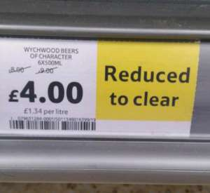 RTC 6 x 500ml bottles of Wychwood beers reduced from £9.00 to £4.00 Tesco Great Yarmouth