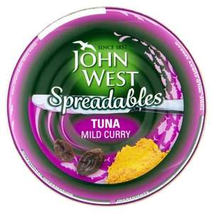 John West Tuna Mild Curry Spreadables 80g bbe 12/17 39p at home bargains