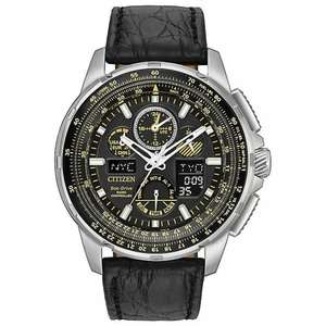 Citizen Eco-Drive Skyhawk A.T Men's Black Leather Watch - £359 @ H Samuel
