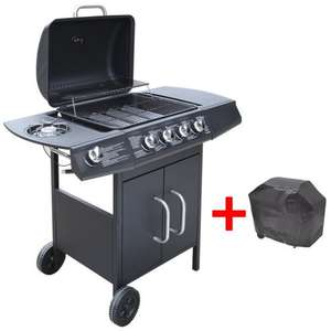 vidaXL Gas Barbecue Grill 4+1 Burners Black + cover £134.99 delivered @ Vidaxl