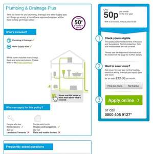 Thames Water Plumbing and Drainage Plus 50p a month / £6 for year for home owners ends April 24th 2017