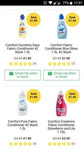 Comfort softener fabric conditioner 42 washes Wilko online or in-store - £1.80