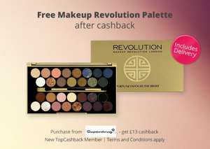 Free makeup revolution palette for new topcashback members via superdrug
