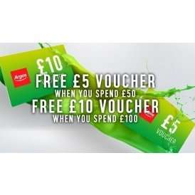 ** Heads up from Wednesday 12th Apr ** £5 Argos voucher when you spend £50 ** £10 Argos voucher when you spend £100 **