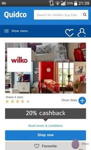 20% Cashback at Wilko online via Quidco