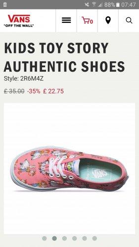 Kids Toy Story Vans £22.75 (+ £3 Del / C+C) @ Vans