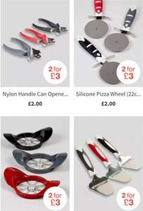 2 for £3 on Kitchen utensils inc Tongs,graters, kitchen scissors, garlic press, can opener, pizza wheel, silicon spatula, whisk, pastry brush, measuring scoops, cheese slicer, apple corer..free c+c @ Matalan
