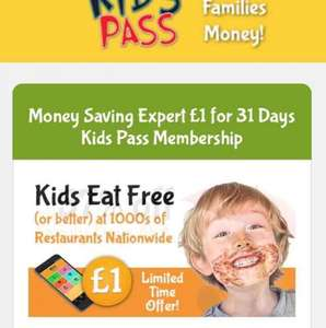 Kids Pass (nationwide discounts) 31 day trial for £1