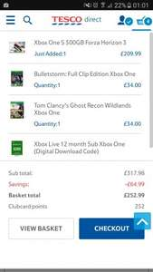 Xbox One S 500GB Forza Horizon 3 + Tom Clancy's Ghost Recon Wildlands + Bulletstorm: Full clip edition + 12 months Xbox Live Gold £252.99 @ Tesco Direct