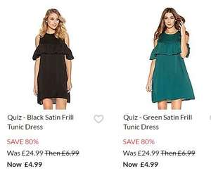 Free delivery on EVERYTHING with code - no minimum spend eg Quiz satin frill tunic dress was £24.99 now £4.99 delivered more in post @ Debenhams