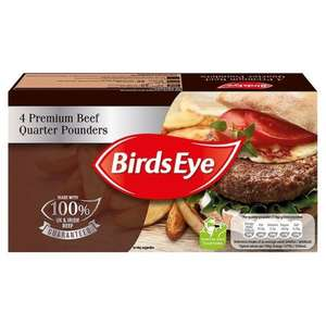Birds Eye Premium Beef Quarter Pounders (4 = 454g) was £3.00 now £1.50 @ Iceland