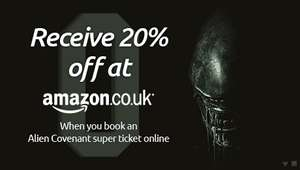 Alien Covenant Superticket - Alien, Prometheus and Alien: Covenant screenings, Ltd Ed Poster and 20% off selected DVD, Blu-ray and Amazon Video purchases at Amazon.co.uk - £20 at Odeon (Screenings Also Available at Vue/Cineworld)
