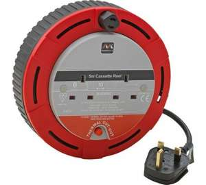 Masterplug 2 Socket Cassette Reel (5m) was £10.99 now £6.99 @ Argos (C&C)