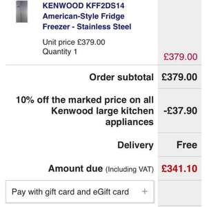 KENWOOD KFF2DS14 American-Style Fridge Freezer - Stainless Steel at Currys for £341.10