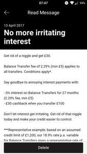 First direct 0% Balance Transfer for 27 months (2.29% fee) free £30 cashback if you transfer £100+