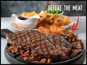 24oz rump steak challenge @ Flaming Grill pubs £12.79 with newsletter voucher + Other Challenges