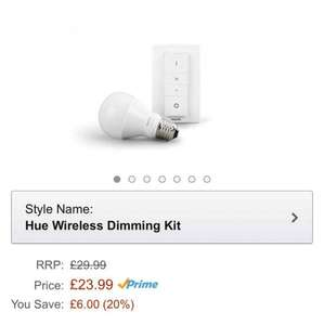 Phillips hue white LED lamp and dimmer at Amazon for £23.99