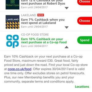 10% cashback on co-op grocery shop when you pay with Santander card @ co-op