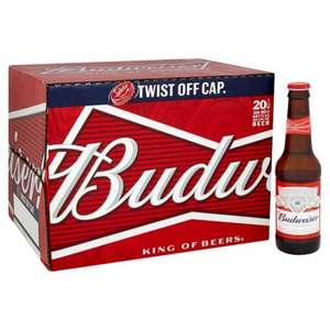 Budweiser 20x300ml bottles, In-store and online £10 @ Tesco